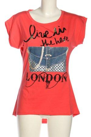 Bluoltre Print-Shirt rot Motivdruck Casual-Look