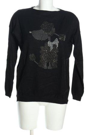 Bluoltre Kraagloze sweater zwart-zilver prints met een thema casual uitstraling