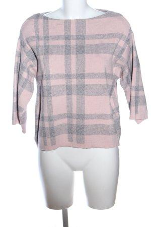 Bluoltre Sweter z okrągłym dekoltem różowy-jasnoszary Na całej powierzchni