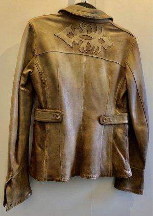 Blur Leather Blazer light brown-sand brown leather