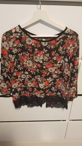 Oversized blouse zwart-rood