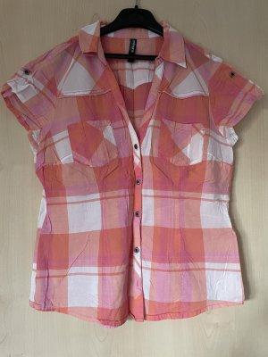 United Colors of Benetton Geruite blouse wit-lichtroze
