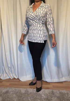 Chima Blouse portefeuille blanc-bleu