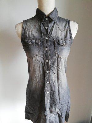 Amisu Robe chemise noir-gris