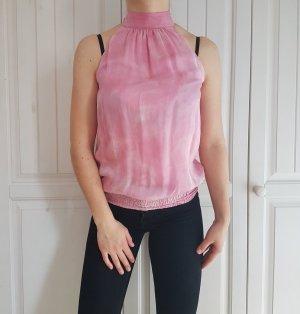 Top in seta rosa chiaro-rosa
