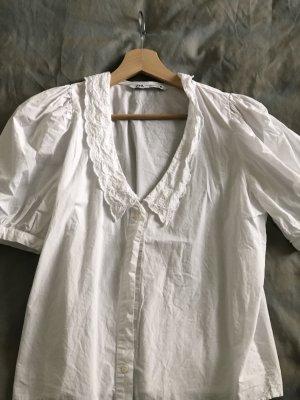 Zara Kołnierzyk koszulowy biały Bawełna