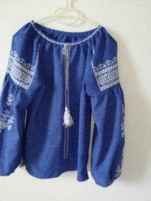 Lniana bluzka niebieski
