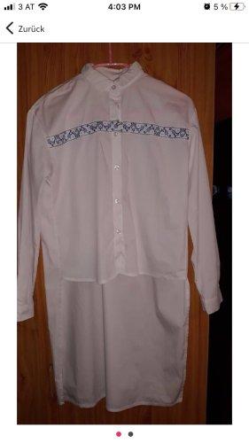 Długa bluzka biały-niebieski