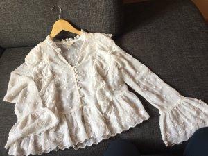 H&M Bluzka z falbankami w kolorze białej wełny