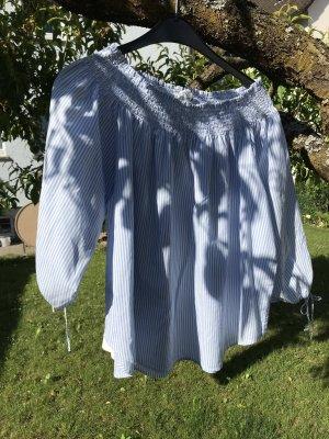 H&M Bluzka typu carmen biały-chabrowy