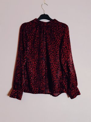 Stand-Up Collar Blouse black-red