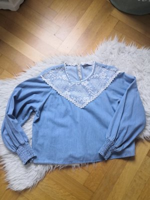 Zara Lace Blouse pale blue