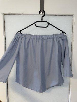 Glanzende blouse azuur
