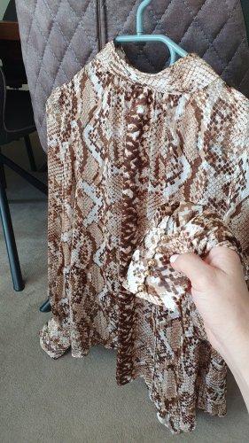 H&M Blouse à col montant beige-chameau polyester