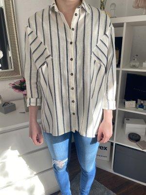 Topshop Camicia blusa bianco sporco-blu scuro