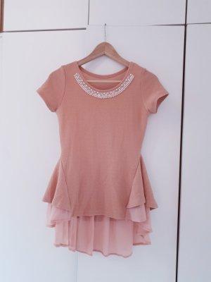 Waterval shirt roségoud-stoffig roze