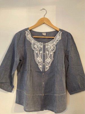 casual Shirt Blouse slate-gray-white