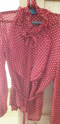 Apart Ruche blouse wit-rood