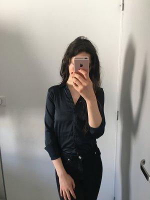 H&M Glanzende blouse donkerblauw