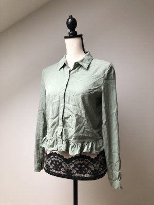 Zara Ruffled Blouse sage green-khaki lyocell