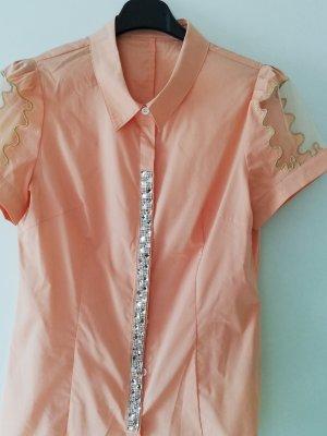 100% Fashion Blusa de manga corta naranja claro