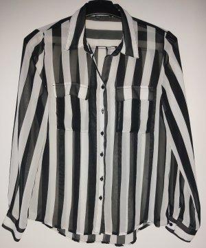 Xside Transparentna bluzka biały-czarny