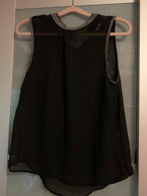 Only Blusa de cuello alto negro-color plata