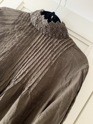 H&M Bluzka ze stójką zielono-szary-khaki