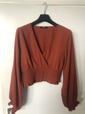 Gina Tricot Kopertowa bluzka rudy