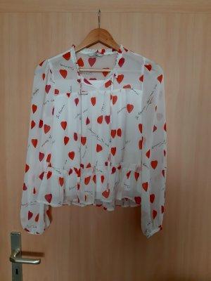C&A Blusa de manga larga blanco-rojo Poliéster