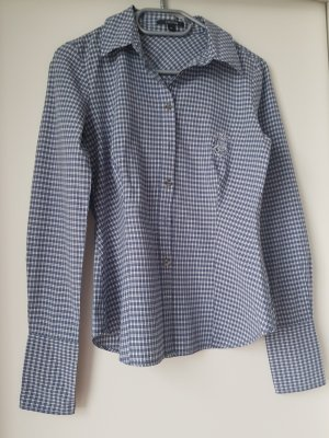 Comma Geruite blouse wit-staalblauw