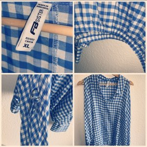 Fishbone Blusa-camisa azul aciano-blanco