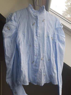 Pepe Jeans Blouse à col montant bleu-bleu azur coton