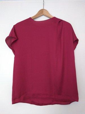 Glanzende blouse framboosrood Polyester