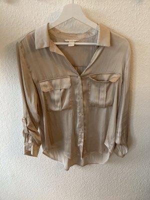 H&M Połyskująca bluzka brąz-kremowy