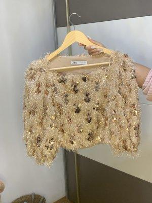 Zara Połyskująca bluzka camel-różany