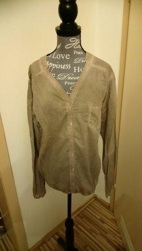Blusa caída marrón grisáceo-marrón claro