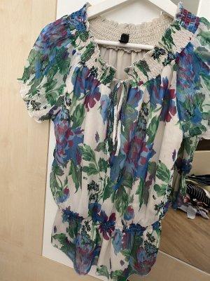Vero Moda Bluzka z krótkim rękawem kremowy-leśna zieleń