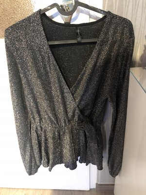 Amisu Glanzende blouse zwart-zilver