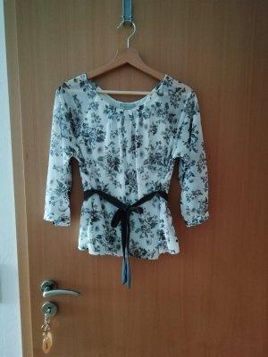 H&M Jedwabna bluzka biały-szary