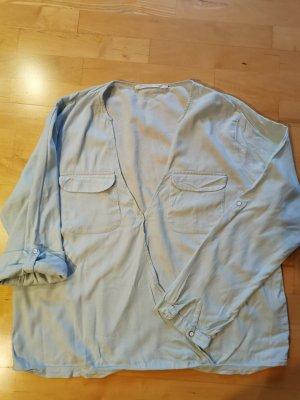 YAYA Holland Blouse portefeuille bleu clair coton