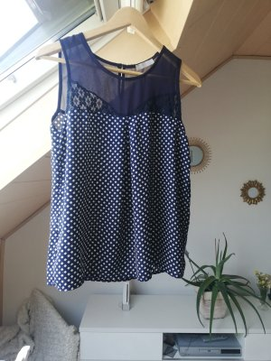 Promod Blouse topje wit-donkerblauw