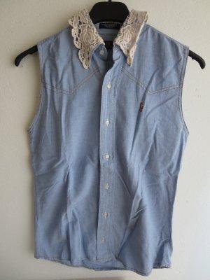 Bluse ärmellos Denim blau weiß Kragen Spitze handmade