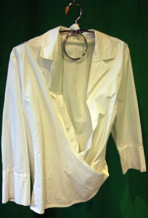 Airfield Wraparound Blouse white cotton