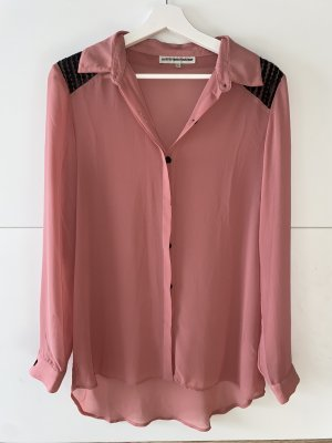 Takko Fashion Stand-Up Collar Blouse bright red-dusky pink