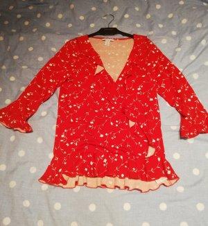 Amisu Wikkelblouse rood Polyester