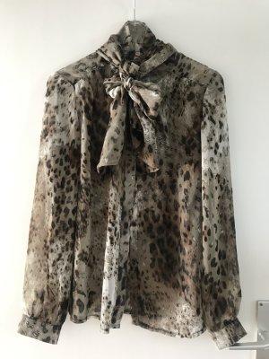 Bluse Animalprint mit Schal, Größe M/L