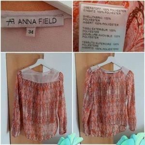 Anna Field Camicetta a maniche lunghe arancio neon-bianco Poliestere