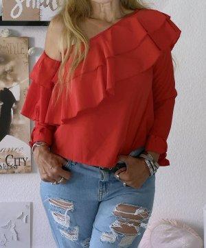 Boohoo Blusa alla Carmen rosso
