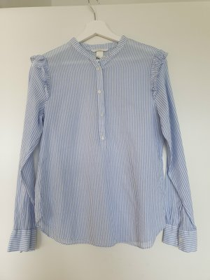 H&M Blouse à col montant blanc-bleu azur